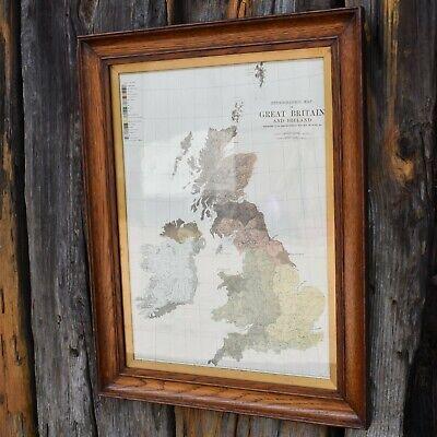 Antique 1891 British Isles Ethnographic Map Old Oak Framed Colour Plate Print