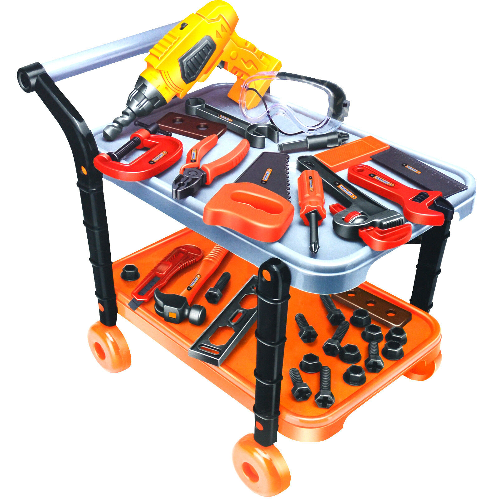 45PC KIDS CONSTRUCTION DIY TOOL SET TROLLEY BENCH PLAY ...