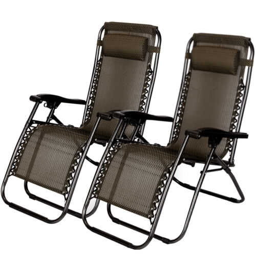 2X Zero Gravity Chairs Folding Outing Beach Outdoor Camping
