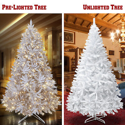 White Artificial Christmas Tree Tall 7-7.5' Natural Fir Pine Unlit Prelit Hinged ()