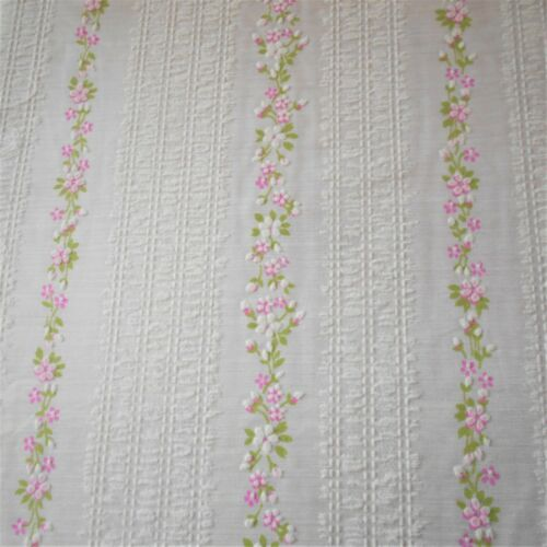 Vintage RARE Sheer Flocked Voile Fabric Striped Plisse & Pink Floral BT 1/2Yard