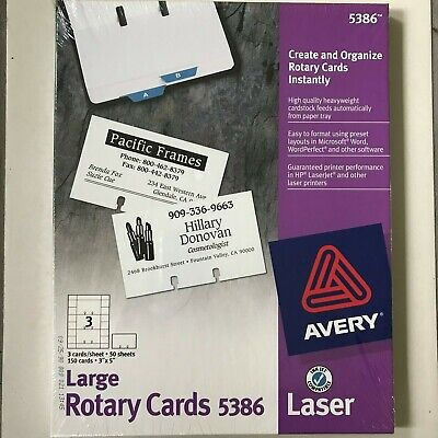 Avery Large Rotary Cards 5386 Cards 3 X 5 Printer Office Paper Business Laser