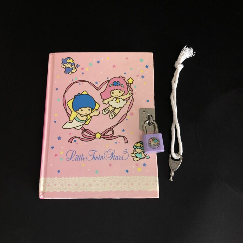RARE Vintage Sanrio Little Twin Stars Locking Diary w/ Lock And Key 1976 1991