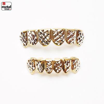 Herren Mode Grillz 14k Vergoldet Diamantschliff Flache Oberseite Unterteil Zähne (Grillz Gold Diamant Zähne)