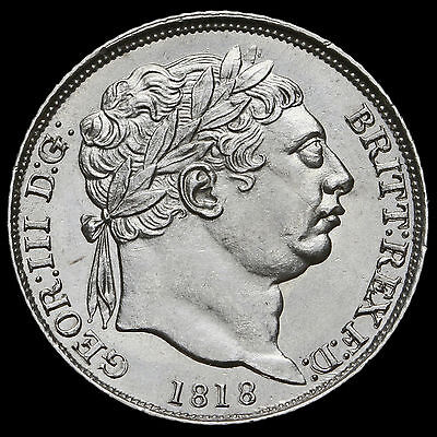 1818 George III Milled Silver Sixpence, Scarce, Uncirculated