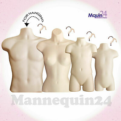 4 Torso Dress Body Form Mannequins Flesh A Set Of Male Female Child Toddler