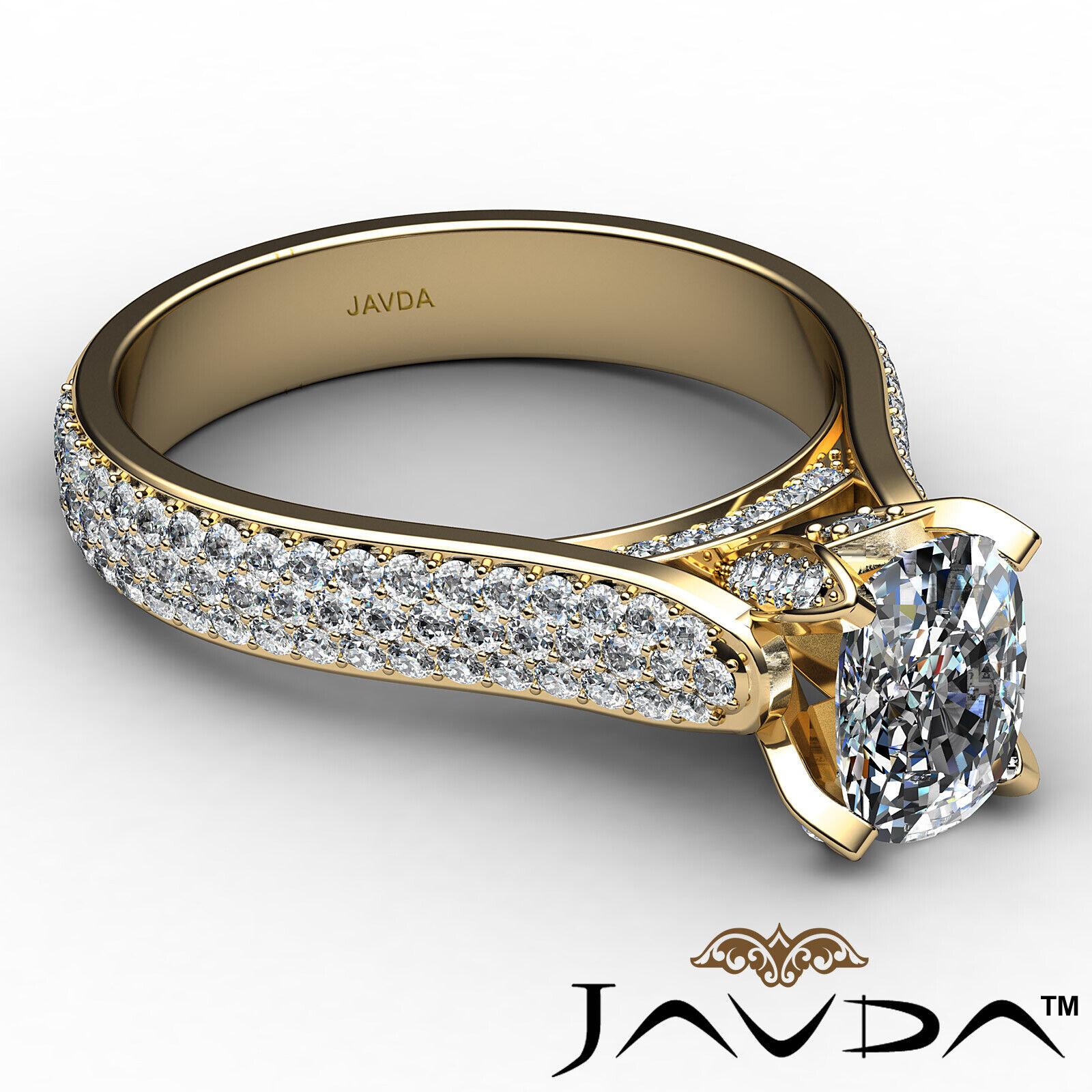 3 Row Shank Cushion Diamond Engagement Ring GIA E Color & SI1 clarity 2.35 ctw 7