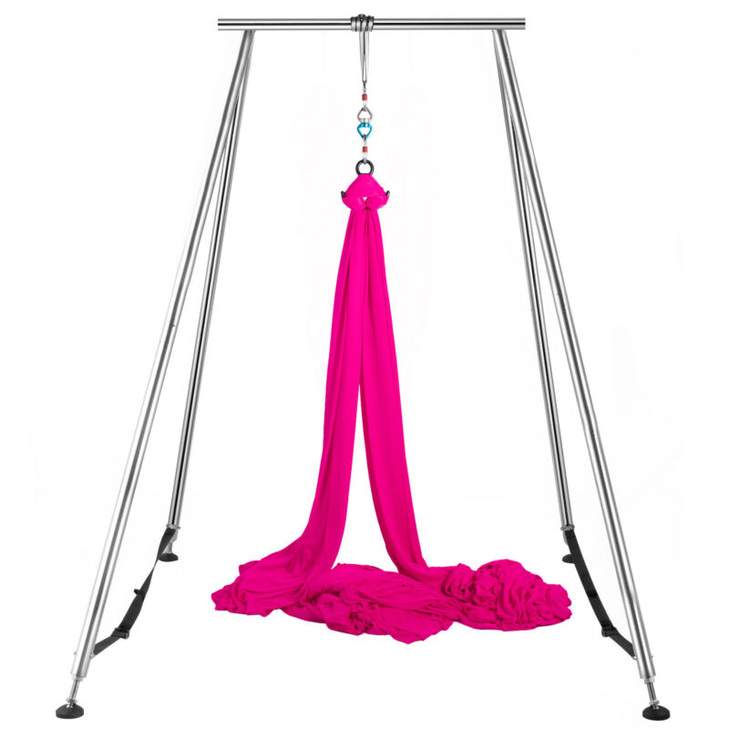 Aerial Trapeze Stand Aerial Rig Yoga Swing Bar Portable Frame w/39ft Aerial Silk