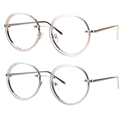 Retro Old School Rimless Clear Lens Round Metal Rim Eye (Old Round Glasses)