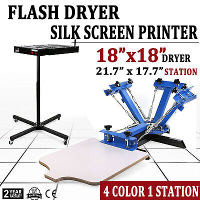 4 Color 1 Station Silk Screen Printing Machine Flash Dryer T-shirt Press Kit