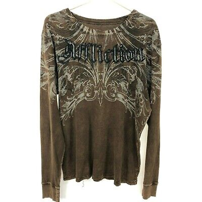 AFFLICTION Men's Thermal Henley Shirt Brown L Large Distressed Cotton Made USA