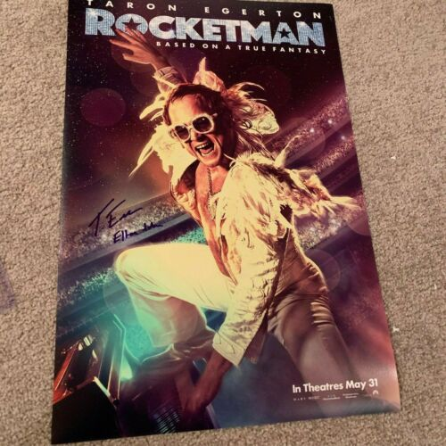 TARON EGERTON SIGNED ROCKETMAN 12X18 PHOTO EXACT PROOF COA AUTOGRAPH ELTON JOHN
