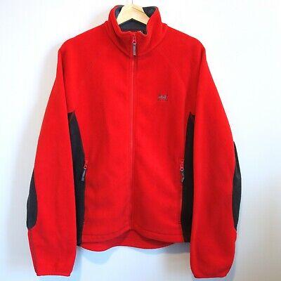 Helly Hansen Full Zip Fleece Jacket Men's Medium Red Gray Zip Pockets
