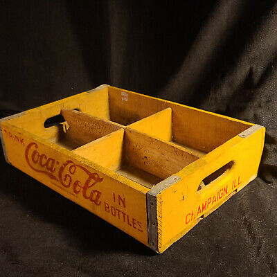 1951 Coca-Cola Wooden Yellow Crate Carrier Box case wood Vintage Coke