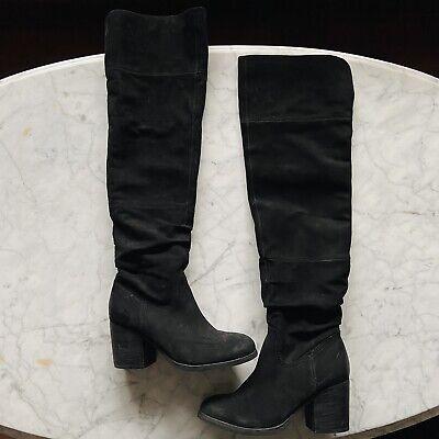 Aldo Black Suede Over The Knee Heeled Boots 6.5 Genuine Block Zip