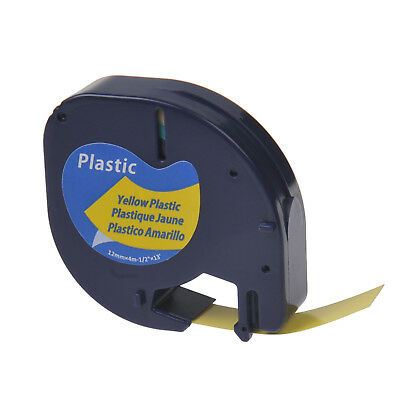 12 Black On Yellow Plastic Label Tape For Dymo Letra Tag Lt 91332 Lt100h Print