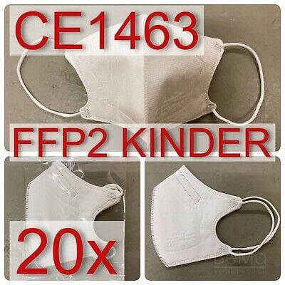 FFP2, MASKEN, Kindergröße, dt. Verpackung, weiß, CE1463, Atemschutz, 20 Stück