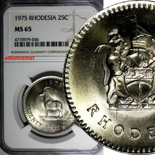 RHODESIA ((Zimbabwe) 1975 25 Cents NGC MS65 GEM BU 32.2 mm KM# 16
