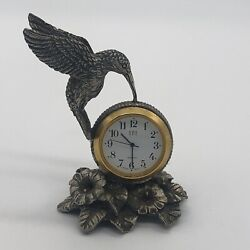 Vintage SPI 1994 Pewter Hummingbird Desk Table Quartz Clock Japan Movement