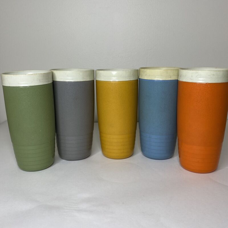 Vintage SUNFROST THERM-O-WARE CUPS Colored Set Of 5