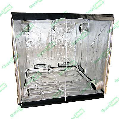 Premium 2.4m x 1.2m x 2m 600D Silver Mylar Grow Tent Box Hydroponics Dark Room