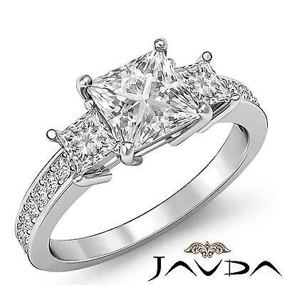 Micro Pave Set 3 Stone Princess Diamond Engagement Wedding Ring GIA I SI1 1.8Ct