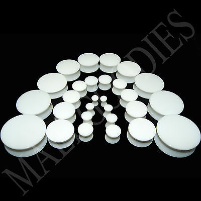 V018 Acrylic Double Flare White Solid Saddle Ear Plugs Earlets 10g to 2