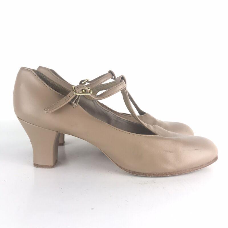 "Capezio 750 T Strap Character Ballroom Dance Shoes Size 8.5 M Tan 2.5"" Heel"