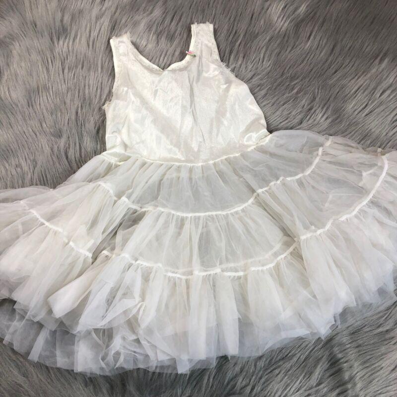 Vintage Girls Ivory White Sheer Ruffle Lace Slip Petticoat