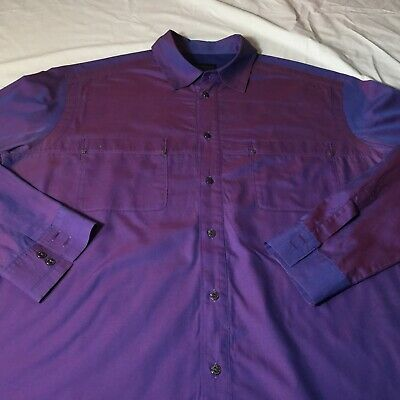 Men's Versace Purple Cotton Button Up Shirt  Size XXL Jeans Couture
