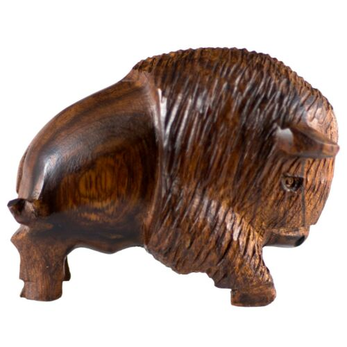"Unique Hand Carved Ironwood Charging Buffalo Bison Figurine Wood Carving 3.25""L"