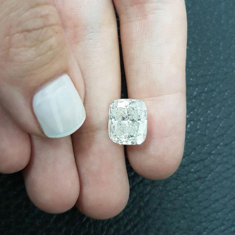 8.01 Carat Cushion Diamond Loose G/si2 Certified Natural Enhanced 12.32x10.59 Mm