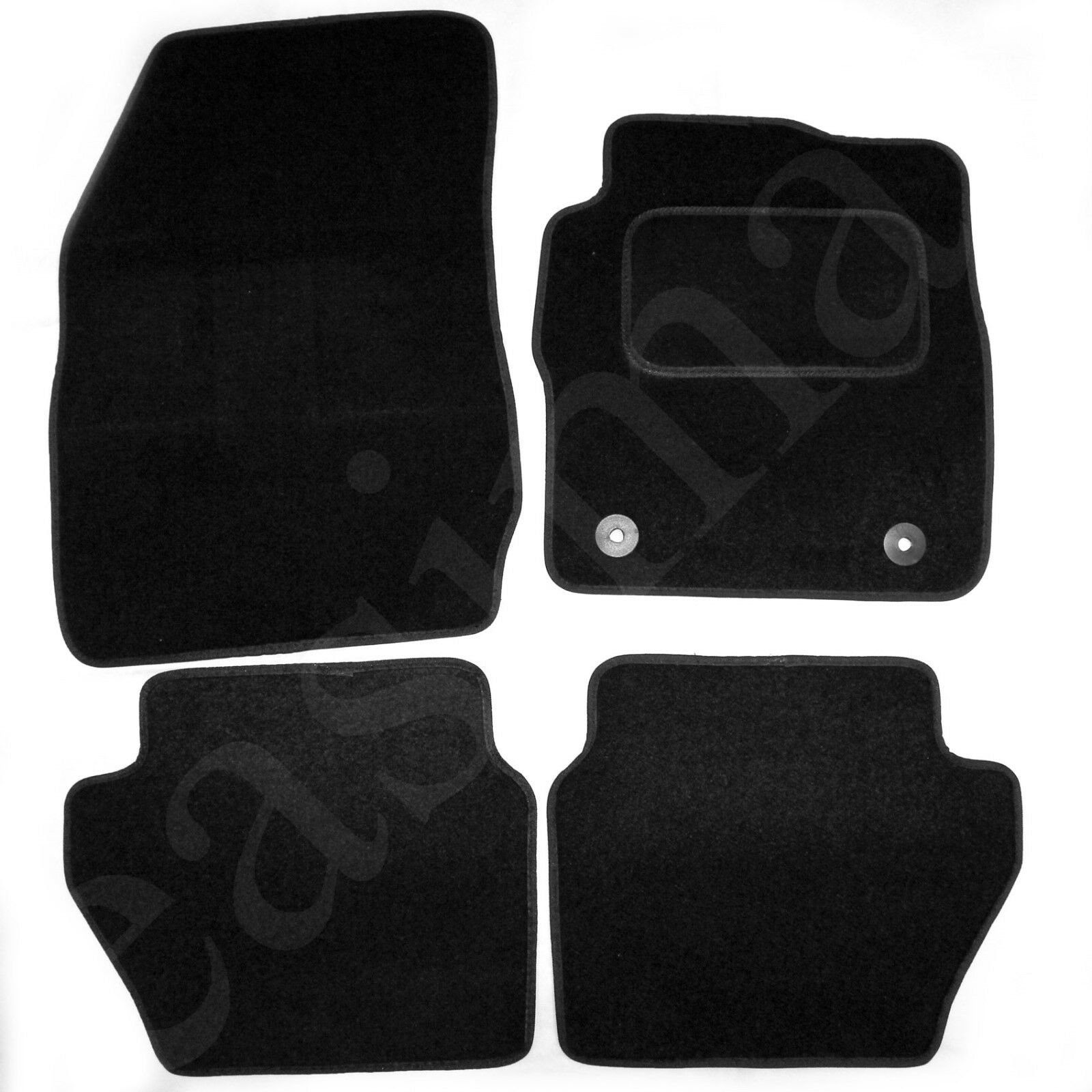 Car Parts - Ford Fiesta Mk7 2011-2017 Tailored Carpet Car Mats Black 4pc Floor Round Clip