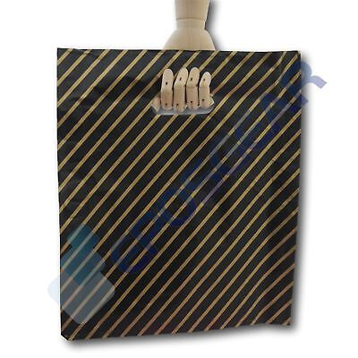 500 Large Black and Gold Striped Gift Shop Boutique Market Plastic Carrier Bags