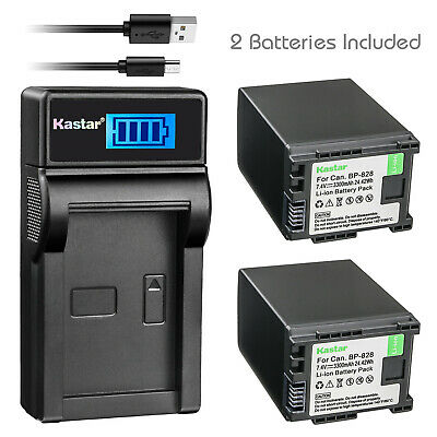 Kastar 2 Battery Pack + Charger for Canon BP-828 CABP828 BP-820 XF400 XF405 XA55