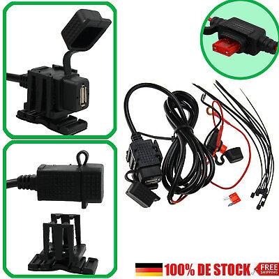 Motorrad 12V USB Anschluss Ladegerät Steckdose Buchse Wasserdicht Adapter 2.1A ()