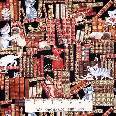 Cat Fabric - Kittens Reading Library Books Sepia  - Timeless Treasures YARD - Treasure Cat Costume