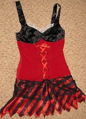 Red Black Girl Wet Seal SZ Small Halloween Velvet Short Sleeve Costume Dress - Wet Seal Halloween