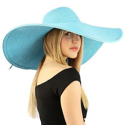 "Summer Elegant Derby Big Super Wide Brim 8"" Brim Floppy Sun Beach Hat Turquoise"