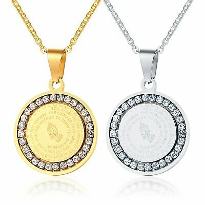 Men's Stainless Steel Rhinestone Bible Text Prayer Tag Pendant Necklace Chain Fashion Jewelry