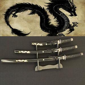 Japanese Samurai Black Dragon 3 Katana/Swords Set w/Stand