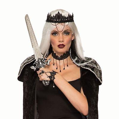 Women's Black Dark Royalty Veil Crown Evil Queen Halloween Costume - Royalty Costume