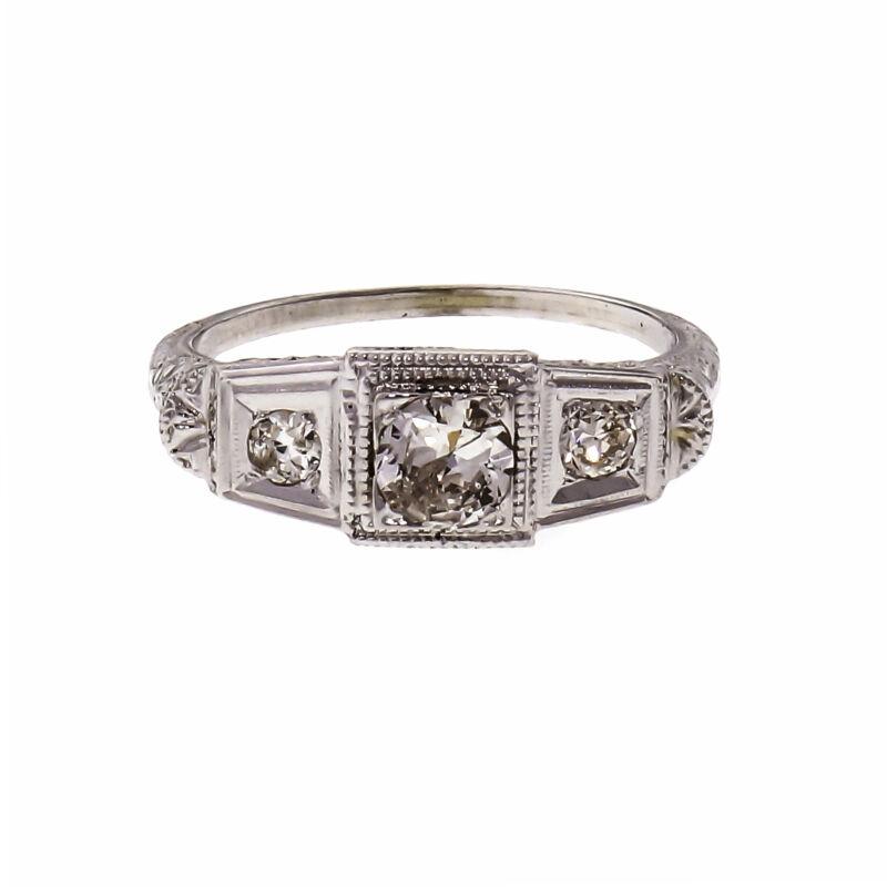 Vintage Art Deco Filigree Diamond Engagement Ring 18k White Gold