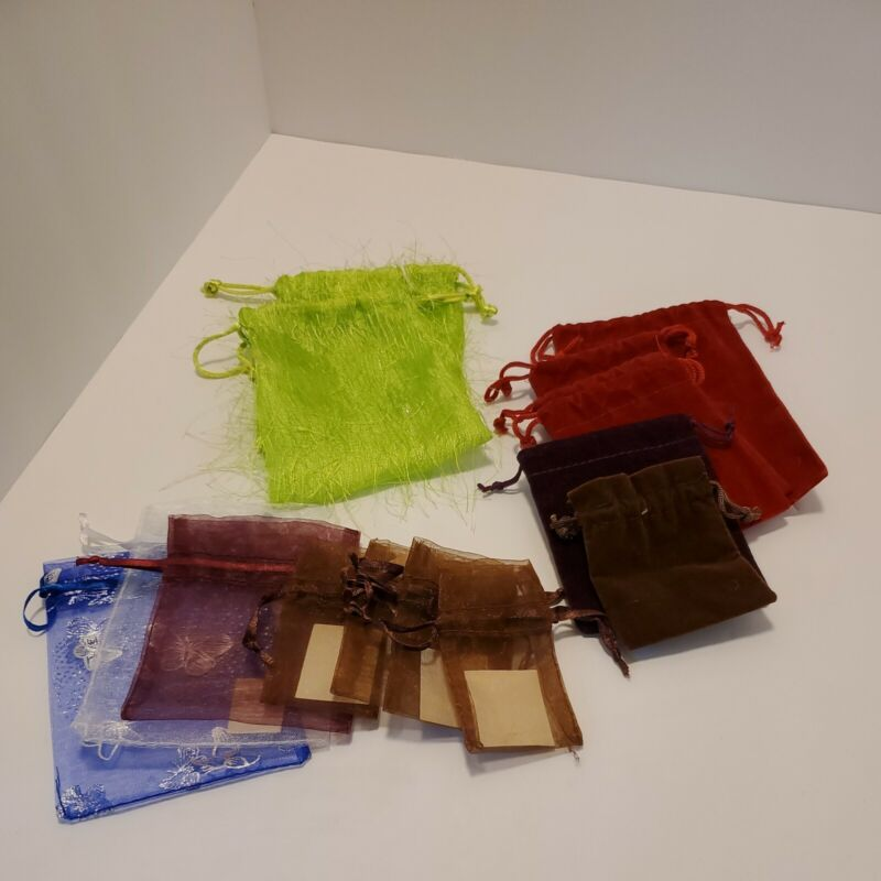 Drawstring Jewelry Gift Bags Pouches lot of 15 - various sizes. #14B