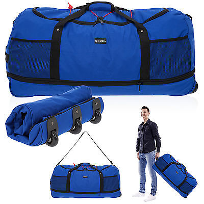 Mit Rädern Trolley Tasche (Reisetasche Rollen Trolley New Rebels Rollingbag XXL 80 cm Trolly faltbar Blau)