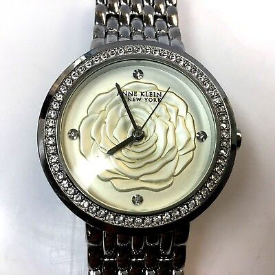 Anne Klein 'Flower' 12/2283SVSV Swarovski Crystal Women's Watch