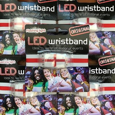 10 x ENGLAND Wristband with LED - Fan Armband ST GEORGE flag with Flashing Light