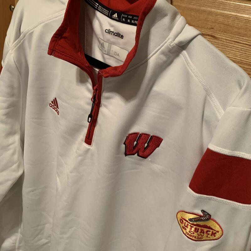 Dave Aranda 2015 Outback Bowl Wisconsin Badgers Adidas 1/4 Zip Size Xl White Lsu