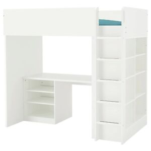 STUVA Loft bed combo w 2 shlvs/3 shlvs Cupboard & Study table