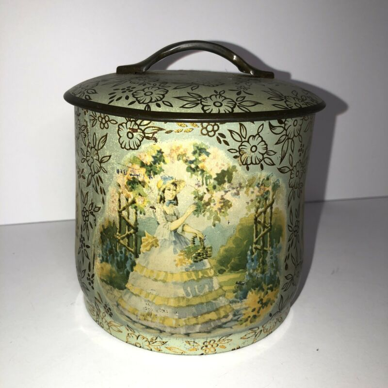 Vintage Victorian Style Woman Painted Metal Tin Can Canister w/Lid Lady In Blue